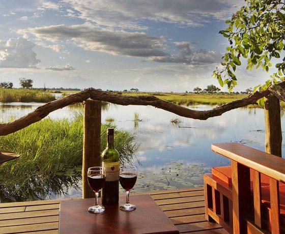 veranda con vista presso il lagoon camp in botswana
