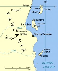 mappa dell'arcipelago di zanzibar, con l'isola di pemba a nord.